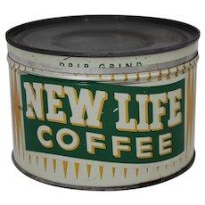 "Late 1940's Early 50's ""New Life Coffee"" 1 lb Litho Key Wind Coffee Tin"