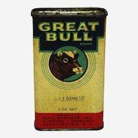 "Circa: 1930's, 40's Rare ""Great Bull Brand"" Litho Spice Tin"