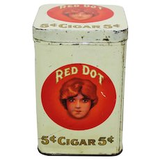 Early 1900's 'Red Dot' 5 Cent Cigar Litho Tin