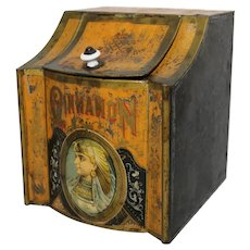 Turn of the Century Country/General Store Cinnamon  Counter Top Litho Spice Tin/Bin.