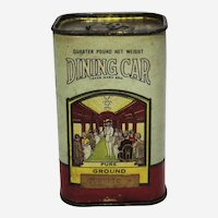 "1924-1946 ""Dining Car"" Paper Labeled Tumeric Spice Tin"
