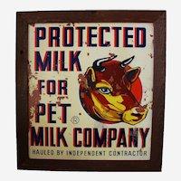 Circa 1925-1950 Large 'Pet Milk' Framed Masonite Advertising Sign.