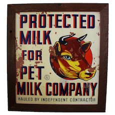 Circa 1925-1950 Large 'Pet Milk' Framed Masonite Advertising Sign.