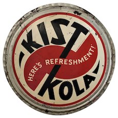 "Rare 1930's, 40's Large 36"" Diameter 'Kist Kola'  Bottle Cap Advertising Metal Sign"