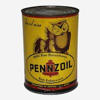 """Circa: 1930's """"Be Oil Wise'….Pennzoil 1 qt. Litho Motor Oil Can"""