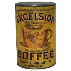 Circa: 1910-1921 Excelsior Brand 1 lb. Coffee Can