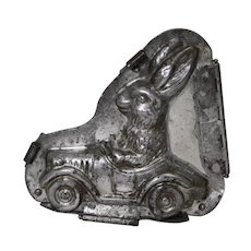 1930's, 40's German Heris 'Bunny in Car' Hinged Chocolate Mold