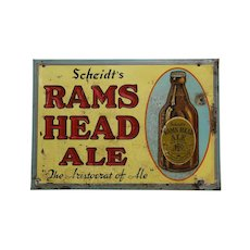 "Circa: 1940-1955 Embossed 9"" x 13""  'Rams Head Ale' Metal Advertising Sign"