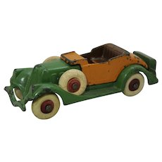 "Circa: 1933 Cast Iron Hubley Detachable Body 6 1/4"" toy Roadster"