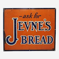 "Early 1900's ""Ask For Jevne's Bread"" 16 3/4"" x 13 3/4"" Embossed Metal Advertising Sign"