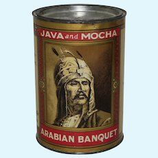 "Circa: 1934-1945 ""Arabian Banquet"" Java and Mocha Litho Coffee Tin"