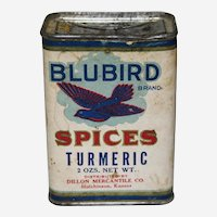 """Circa: 1920-1930  """"Blubird"""" Turmeric Spice Tin"""