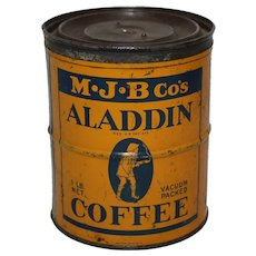 Late 1920's 1 lb.  'Aladdin Coffee' Litho Key Wind Coffee Can