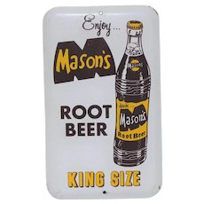 "Circa: 1950's Mason's Root Beer 6""x 3 3/4"" Metal Advertising Door Push"