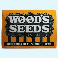 "Rare, Circa: 1940's, 50's Embossed ""Wood's Seed""  28"" x 20"" Metal Advertising Sign"