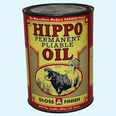 "Circa: 1967 Unopened Canadian ""Hippo Oil"" Paper Labeled Qt. Can"
