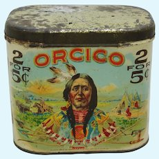 "Early 1900's ""Orcico"" Litho Cigar Tin with American Indian Chief Graphics"