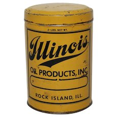 "Circa 1940's, 50's ""Illinois Oil Products"" 2 lb. Litho Grease Can"