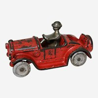 """Circa: Mid 1920's Cast Iron Kilgore 4 1/4"""" Sport Roadster Toy with Original Nickled Driver"""