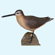 Circa: 1975 Hand Carved Eastern Dowitcher Shorebird Decoy in Spring Plumage by Wayne Boblenz.