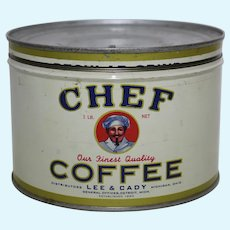 "Circa: 1930's, ""Chef"" Brand Key Wind 1 lb. Litho Coffee Can"