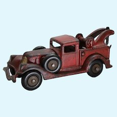"Circa: Mid 1930's Cast Iron 6 3/4"" Detachable Body Hubley Toy Wrecker"