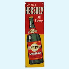 Rare Circa: 1940's, Early 1950's Hershey Ginger Ale Litho Tin Door Push
