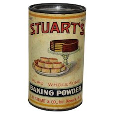 Circa 1920-1940 Stuart's Baking Powder 1 lb. Advertising Container