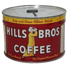 "1940's, 50's Unopened ""Hills Bros."" Litho Key Wind 1 lb. Coffee Can"