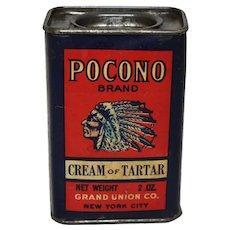 Early 1900's 'Pocono Brand' Cream of Tartar Spice tin