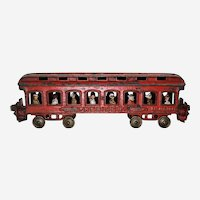 "Circa: 1890's Ives Mfg. Co. Cast Iron 12"" Long Train ""President"" Coach Car with Cast-In Passengers"