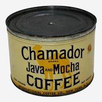 "Circa: Late 1920's, Key Wind ""Chamador Brand Java & Mocha"" Litho 1 Lb. Coffee Can"