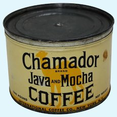 "Circa: Late 1920's, Key Wind ""Chamador Brand Java & Mocha"" Litho 1 Lb. Coffee Can"