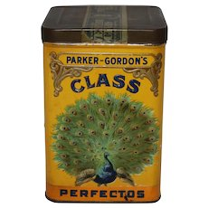 """Circa: 1917-1925 Parker Gordon's """"Class"""" Perfectos Litho Tobacco Cigar Tin"""