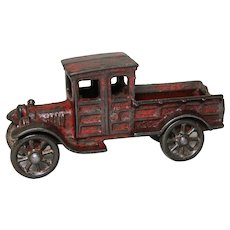 """Circa: 1920's A.C. Williams Cast Iron 5 1/2"""" Toy Ford Delivery Truck"""