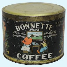 "Rare, Early 1900's 'Bonnette"" Brand 1 lb. Litho Coffee Tin"
