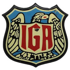 "Circa: 1940's, 50's ""IGA""  Grocery Store Porcelain Metal Advertising Sign"