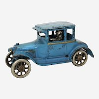 """Circa: 1927 Cast Iron Arcade 6 3/4"""" All Original  Model T Ford Coupe Toy"""