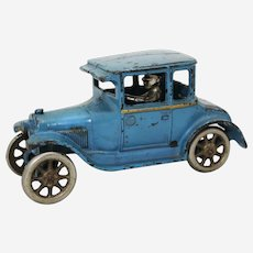 "Circa: 1927 Cast Iron Arcade 6 3/4"" All Original  Model T Ford Coupe Toy"