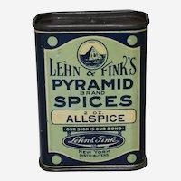 Circa: 1930's, 40's, Pyramid Brand Allspice Litho Spice Tin