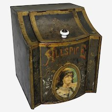 Turn of the Century Country/General Store Allspice Counter Top Litho Spice Tin/Bin.