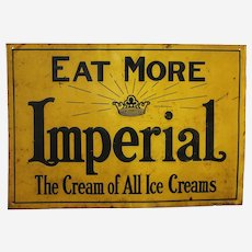 "Circa: Early 1900's Rare 'Imperial Ice Cream' 19 3/4"" Embossed Metal Advertising Sign"