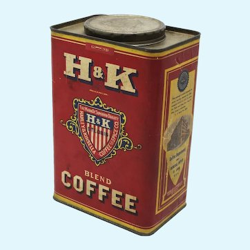 Early 1900's H & K Brand Large Three lb. Cardboard/Tin Coffee Canister