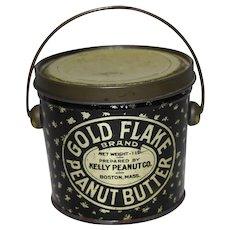 "Circa: 1920's, 30's ""Gold Flake Peanut Butter"" 1 lb. Litho Tin Pail"