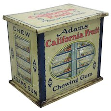 Early 1900's 'Adams California Fruit Chewing Gum' Counter Top Litho Display Tin