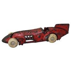 "Circa: 1930'S, 6 1/2"" Cast Iron ""Rocket"" Kilgore Race Car"