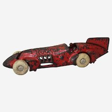 "Circa: 1930'S, 6 1/2"" Cast Iron ""Rocket"" Kilgore Race Car"