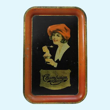 Early 1900's 'Champaign Ice Cream' Advertising Metal Serving Tray.