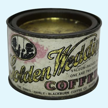 Early 1900's 'Golden Wedding' Sample Litho 2 1/2 oz. Advertising Coffee Tin