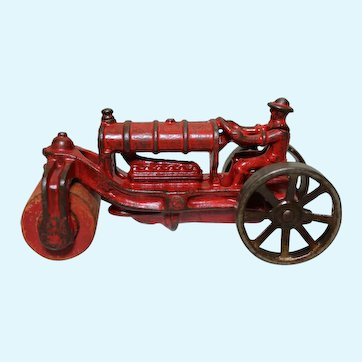 "Circa: Late 1920's A.C. Williams Cast Iron 5 1/4"" Road Roller Tractor"